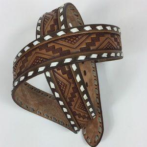 Embossed Genuine Leather Western Belt